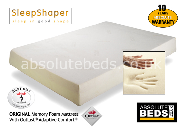 SleepShaper Original 20cm Memory Foam Mattress with Outlast? Adaptive Comfort?