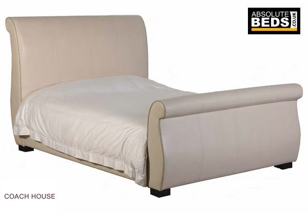 Classic House Cream Faux Croc Leather Sleigh Bed Frame