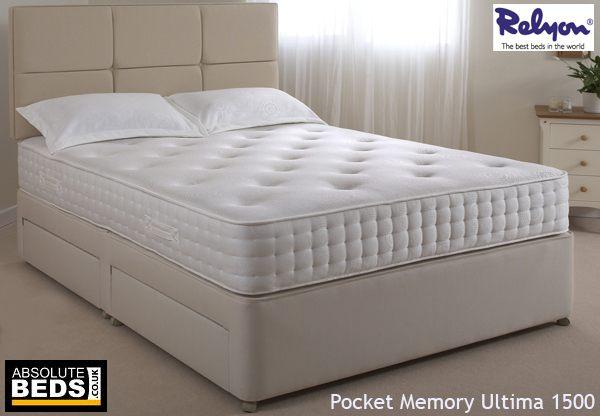 Relyon pocket memory ultima 1500 divan bed set best price for The best divan beds
