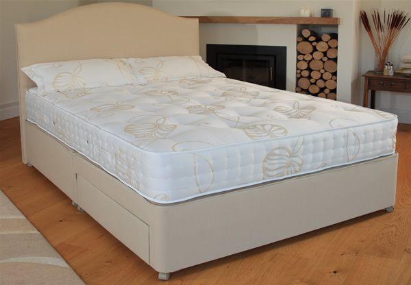 Relyon reims kingsize 1200 pocket spring divan bed set for Best value divan beds