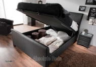 Kaydian Allendale Leather Lift up Ottoman Storage Bed
