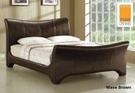 Time Living Wave Faux Leather Bed Frame